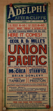 Union Pacific, UK film poster, Barbara Stanwyck, Joel McCrea, 1939